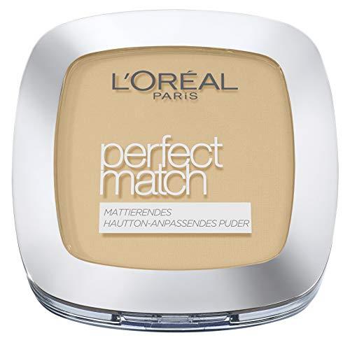 L'Oréal Paris Puder Make up, Mattierendes Kompaktpuder mit LSF 8, Inkl. Spiegel und Schwamm, Perfect Match Puder, Nr. 3.D/3.W Golden Beige, 9 g