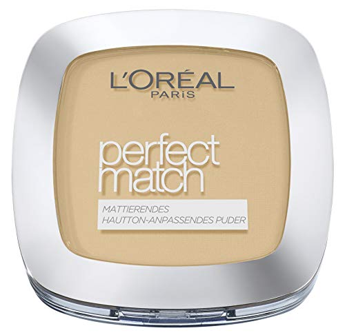 L'Oréal Paris Perfect Match Mattierendes Puder Make Up, flexible Deckkraft und hautton-anpassend, LSF 8, mit Spiegel und Schwämmchen, 3D/3W golden beige (1x)