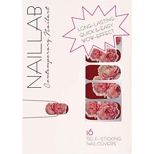 NAILLAB Nagelfolie - Selbstklebende Nagelfolien als Nagellack Alternative - nail wraps in verschiedenen Farben - Nagelaufkleber | nail sticker | folie (RED ENGLISH ROSE)
