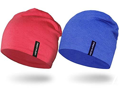 Empirelion Multifunktionale leichte Beanie-Mütze, 22,9 cm, Sonnenschutz, Laufschädel, Helm, Liner, Schlafkappe für Männer und Frauen Einheitsgröße Königsblau Melange+Rouge Red Mel.
