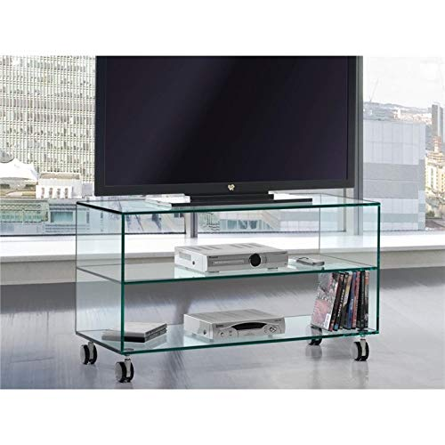 Mesa de Televisión de Cristal con Ruedas Kolet 90 cm