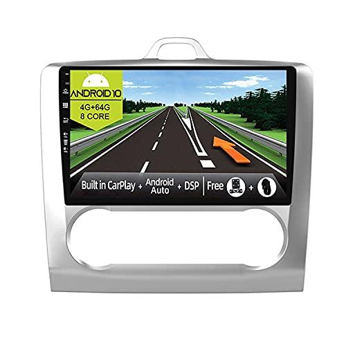 JOYX Android 10 Autoradio Compatibile Ford Focus (2004-2011)- 4G+64G - Built-in DSP/Carplay/Android Auto - Camera MIC GRATUITI - Supporto Bluetooth5.0 DAB Volante 4G WiFi 360-Camera - 9 Pollici 2 Din
