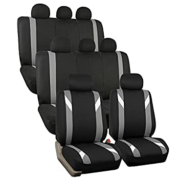 FH Group FH-FB033128 Three Row-Premium Modernistic Seat Covers Gray/Black- Fit Most Car Truck SUV or Van