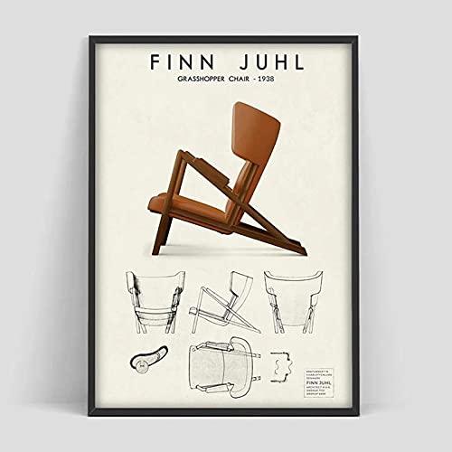 IFUNEW Vlies Leinwandbild Finn Juhl Grasshopper Scandinavian Chair Design Danish Furniture Poster 60x90cm