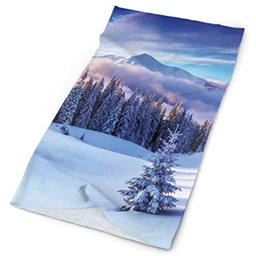 GUUi Headwear Headband Head Scarf Wrap Sweatband,Surreal Winter Scenery with High Mountain Peaks and Snowy Pine Trees,Sport Headscarves for Men Women