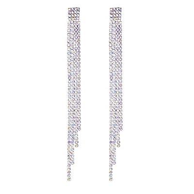 Women Rhinestone Earrings for Wedding Bridal Earrings Long Sparkly Elegant Silver Dangle Chandelier Earrings
