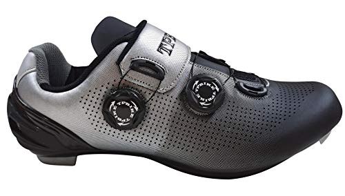 TPBIKE Mens Road Cycling Shoes Mens Look Delta Bike Shoes Mens Indoor Cycling Shoes SPD Lock MTB Bicycle Cycling Shoes for Men Black Grey