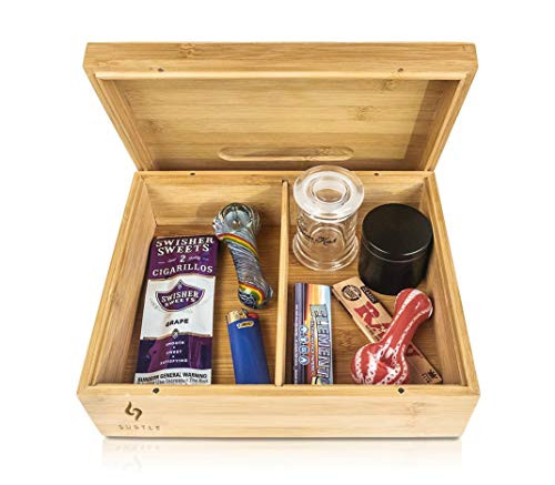 Rolling Tray Stash Box - Extra Large Bamboo Box w/Ample Storage Space to Organize All Smoking Accessories - Comes with Convertible Rolling Tray Lid