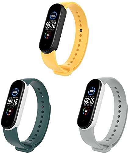Gransho Correa de Reloj Compatible con Xiaomi Mi Band 5 / Xiaomi Mi Band 6 / Amazfit Band 5, Blando Silicona Narrow Delgada Deporte Reemplazo Pulsera (3-Pack J)