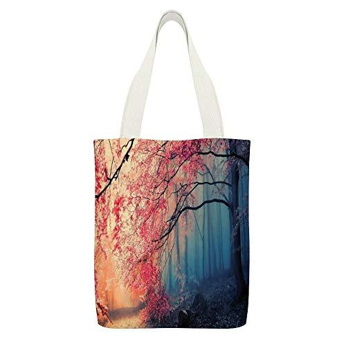 Einkaufstasche aus Segeltuch, Motiv: Wald, Bäume, Nebel, Herbst, Weiß, 15 Stück