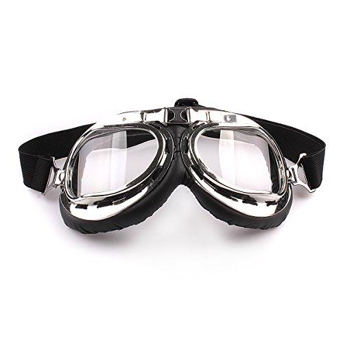 TININNA Gafas Lente Lens Tipo Aviador contra Viento UV para Moto Harley(Transparente)