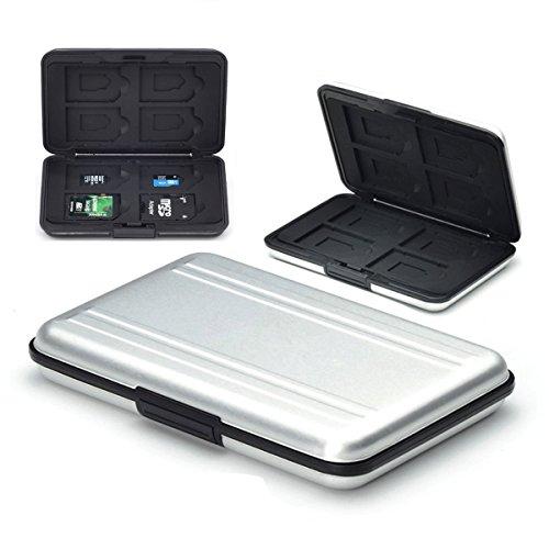 Flycoo Schutzhülle für Speicherkarten, stoßfest, staubdicht, wasserdicht, magnetisch, für 8 SD Karten, 8 TF/Micro SD-Karten (Silber)