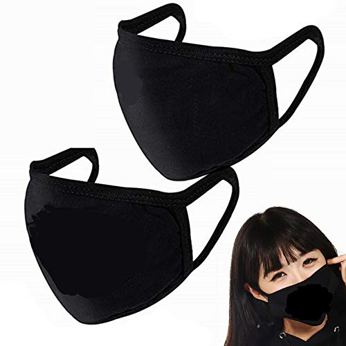 2 Pack Unisex Mouth Mask Adjustable Anti Dust Face Mask,Black Cotton Mouth Mask Muffle Mask for Cycling Camping Travel,100% Cotton Washable Reusable Cloth Masks