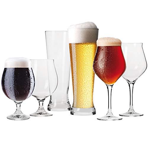 Krosno Bier-Gläser Bierkenner Set | 2X Bier-Tulpen 420ml | 2X Weizenbiergläser 500 ml | 2X Dunkle Biergläser 500 ml | Brewery Kollektion | Perfekt für Zuhause und Partys | Spülmaschinenfest
