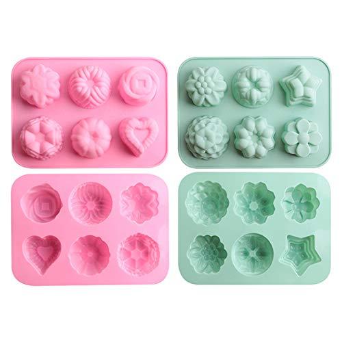 Molde de silicona de para pasteles de fiesta DIY, Chocolate, Dulces, Mousse, Pudín, Velas, Jabón, 4 piezas de molde de silicona con 6 cavidades (Rosa * 2 + verde * 2)