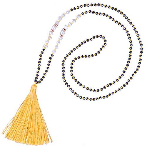 KELITCH Collar De Cuentas De Hematita con Perlas De Concha De Borlas Hechas A Mano Colgantes De Perlas Collares Gargantillas Joyería para Mujeres (Amarillo H)