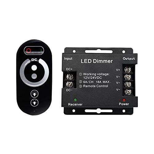 Interruttore touch a LED, 12 V – 12 V DC con telecomando per tutte le lampade a LED dimmerabili, tensione continua touch, telecomando touch dimmer (dimmer radio 18 A)