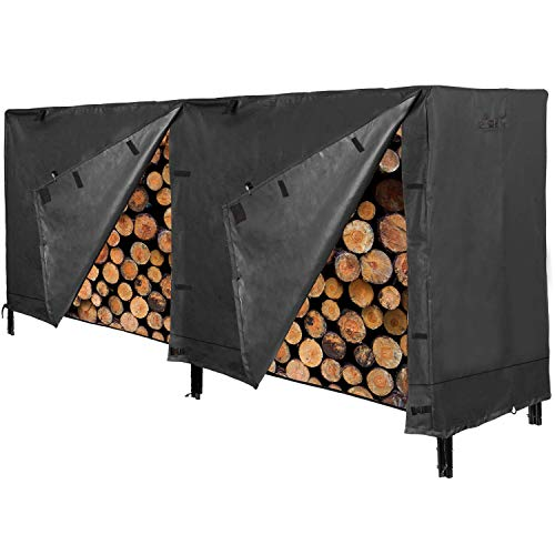 XTSKLY Firewood Rack Cover 8 Ft Log Rack Cover Heavy Duty and Waterproof 600D Oxford Firewood Cover All Weather Protection