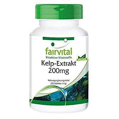 Sea Kelp Extract 200mg, natural source of iodine with 300mcg of iodine / 200% NRV, from France North Altantic – 250 vegan tablets, bulk pack by fairvital