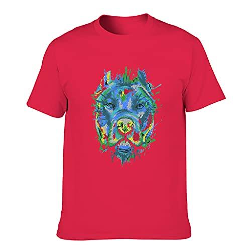 Pit Bull Men's Graffiti Cotton T-Shirt - Abstract Art Casual Top - Red - Medium