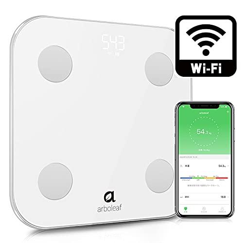 体重計 体組成計 体脂肪計 WiFi /Bluetooth対応 家庭用 スマートスケール 体重管理 高精度 200g単位 スマホアプリ連動 乗るだけ 面倒な毎回のデータ転送操作不要 自動オン/オフ 自動認識機能 ユーザー登録無制限 体重/BMI/体脂肪率など14項目測定可能 Google Fit /Fitbit/Apple Healthと連携 数値グラフ表示 ヘルスメーター ボディスケール iOS/Android対応 150kgまで対応 日本語専用アプリ&説明書対応 強化ガラス採用 薄型 収納便利 使用簡単 電池付属 1年保証