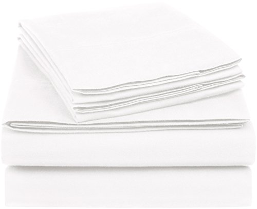 Amazon Basics Essential Cotton Blend Bed Sheet Set, Queen, White