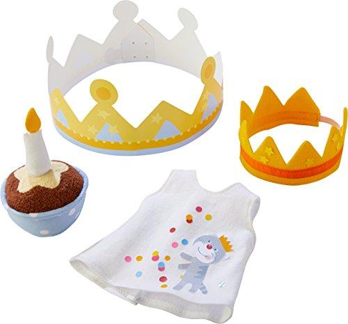 HABA 303727 - Geburtstags-Set Jule | Puppenzubehör für Babypuppe Jule | Set aus Geburtstagskuchen mit Klett-Kerze, Baby-Shirt und Geburtstagskronen | Spielzeug ab 1 Jahr