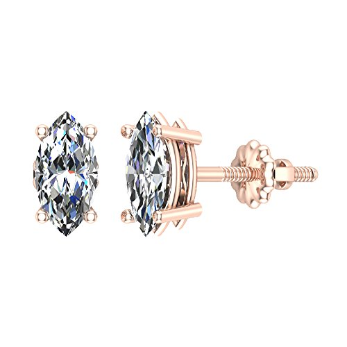 1.00 ct tw J I1 Diamond Stud Earrings Marquise Cut Earth-mined 14K Rose Gold Screw Back