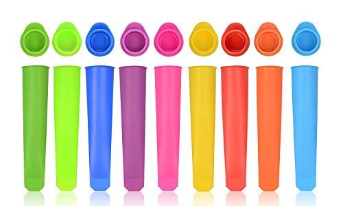 iNeibo Eisformen eis am stiel silikon mit Deckel Wassereis Formen Popsicle aus lebensmittelechtem Silikon BPA Frei (10 Stück Bunt)