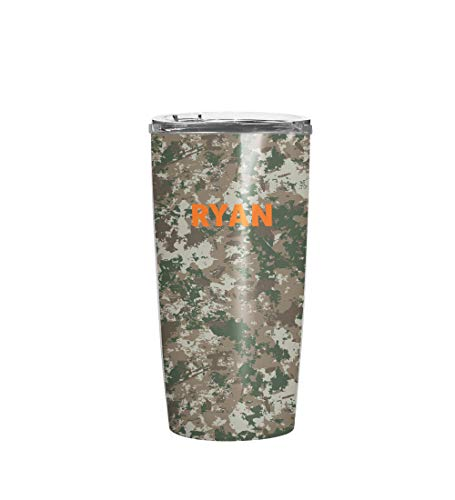 Personalized Camo Print Stainless Steel Heavy Duty Extra Durable Double Walled Insulated Travel Coffee Tumbler Thermo Mug For Men with Crystal Clear Vacuum Sealed Lid (20oz Tumbler)