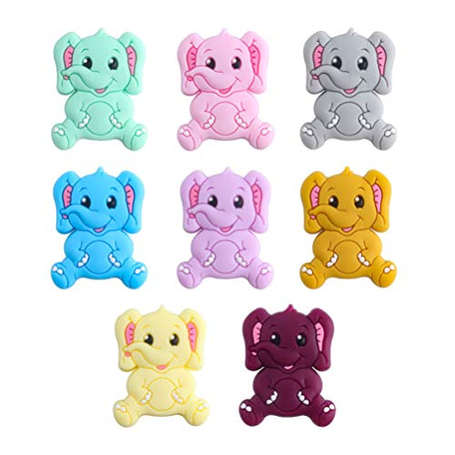 Kisangel 8pcs Silicone Bead Teether Baby Silicone Baby Chew Beads Baby Teething Cartoon Animal Losse Beads Food Grade for Home Outdoor Baby Toddler Supplies