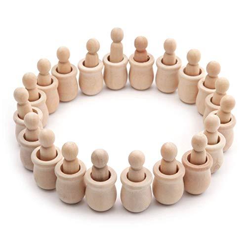 Anladia 20 Stück Holzfiguren zum Bemalen Figurenkegel Unvollendete Holzfiguren Spielfiguren zum Basteln DIY Holzfiguren