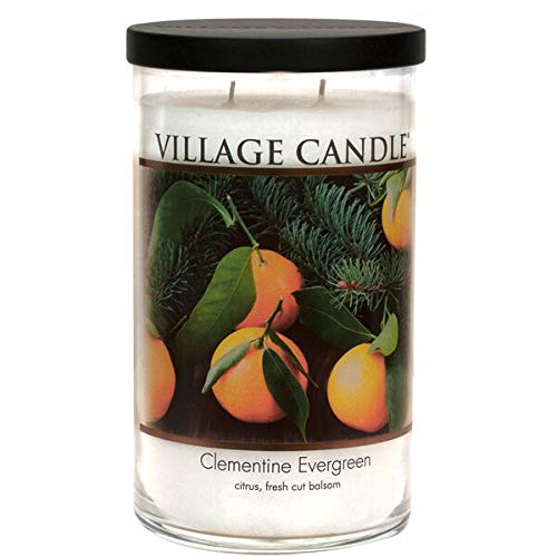 Village Candle Clementine Evergreen, Large Tumbler Scented Candle, 19 oz, White