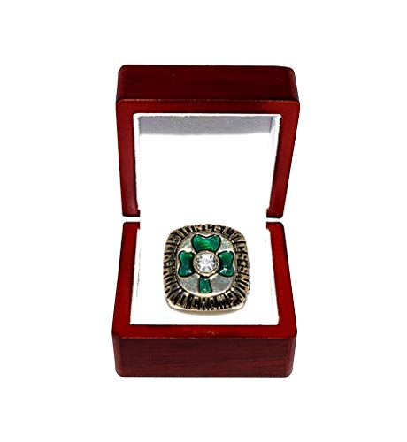 BOSTON CELTICS (Larry Bird) 1984 NBA FINALS WORLD CHAMPIONS (Pride & Teamwork) Vintage Collectible High-Quality Replica Basketball Gold Championship Ring with Cherrywood Display Box