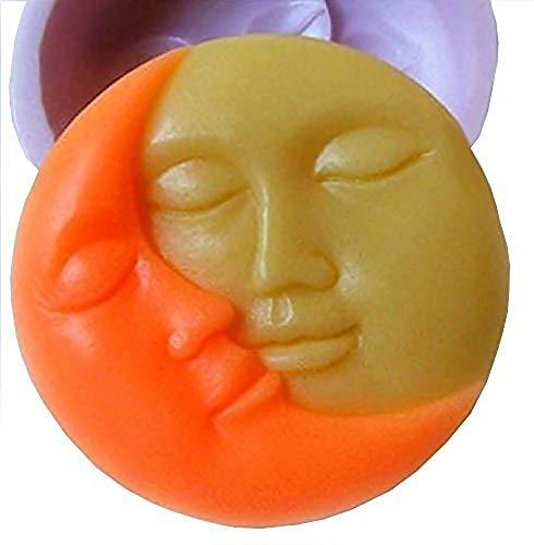 Siliconen mal voor artisanaal gebruik van zon en maan met gezicht - ook geschikt voor zeep