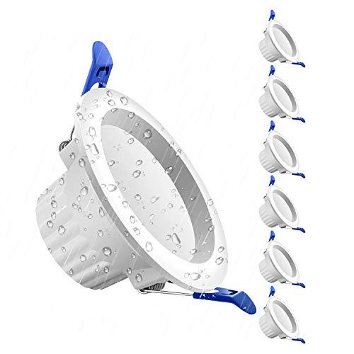 Spot Led Encastrable 5W Spot Salle de Bain IP44, 500lm Blanc Froid 6000K Spot Led Plafond Étanche AC220-240V, Lot de 6