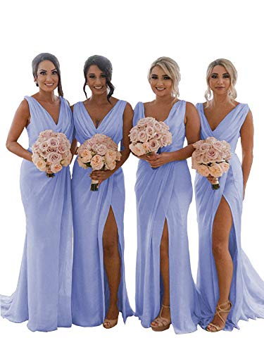 YageDress Women's V-Neck Bridesmaid Dress Long with Slit Chiffon Maxi Beach Wedding Party Guest Dress Lavender