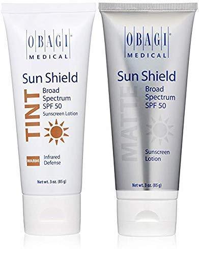 Obagi Sun Shield Tint Broad Spectrum SPF 50 Sunscreen And Obagi Sun Shield Matte Broad Spectrum SPF 50 Sunscreen.
