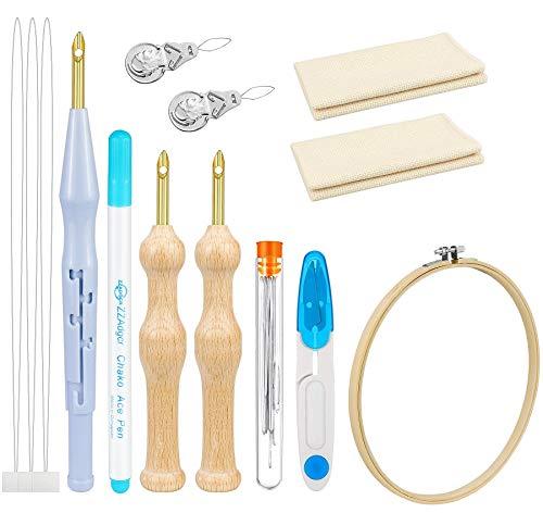 Dreamtop Juego de 22 agujas de punzonado para bordar con mango de madera, para bordar, alfombra ajustable, hilo de punzonado, aguja, aguja, aguja, hilado, herramientas para hacer manualidades y bordar