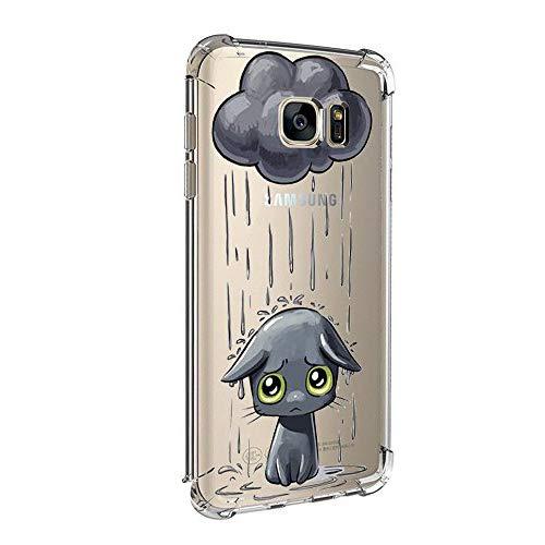 Funda Samsung Galaxy S6 Case,Caler ® Suave TPU Gel Silicona Ultra-Delgado Ligera, Tecnología de cojín de Aire Anti-rasguños Pintado Carcasa (Día lluvioso Gato Negro)