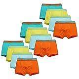 Usex Sense Lot de 12 Boxer Garçon Slip Garcon Calecon Bébé Coton Culotte Pantalon sous-Vêtement Enfant 2-10 Ans(3-5 Ans, 1710M)