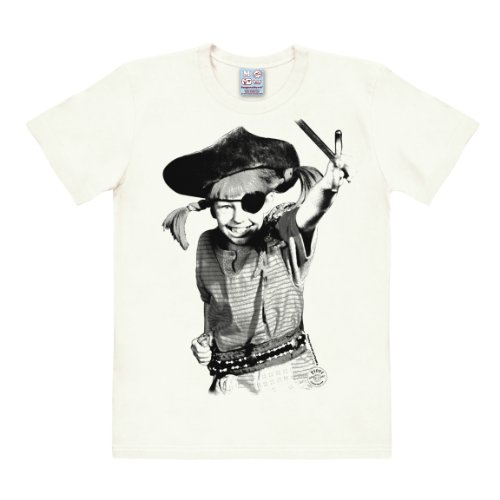 Logoshirt Pippi Langstrumpf Pirat Herren/Jungs T-Shirt I Grafik-Shirt kurzärmlig mit Rundhalskragen I Lizenziertes Originaldesign I Logo-Print langlebig & hochwertig I Baumwolle I Vintage-Stil