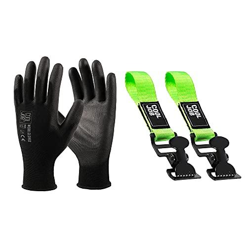 COOLJOB 12 pairs Polyurethane (PU) Coated Safety Work Gloves(Large), 2 Pcs Glove Holder Clip Grabber