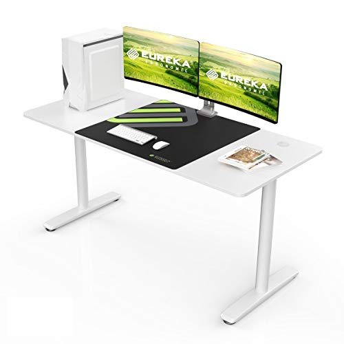 Eureka Ergonomic Home Office Computer Gaming Desk, Modern Simple Style Study Writing Desks PC Table with Free Mouse Pad Cable Management (60 in, White)