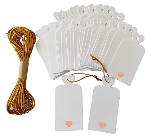 Parxara Gift Tags with Strings for Christmas Present Wedding Favors Blank Rose Gold Heart 50Pcs Large Tags Baby Shower Birthday Bridal Bachelorette Christmas with 32.8ft Gold Twine String (White)