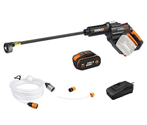 WORX 20 V accu mobiele hogedrukreiniger Hydroshot WG630E, 4,0 Ah, irrigatie, reiniging & desinfectie, multi-sproeimond, lange lans, 6 m slang, accu & snellader, 18 V