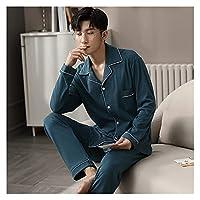 XIN NA RUI パジャマ 冬の100%コットンピジャマ男性の寝室パジャマ灰色ベッドガウンホーム服男のpjs綿パジャマ寝室セット (Color : Navy Blue, Size : L)