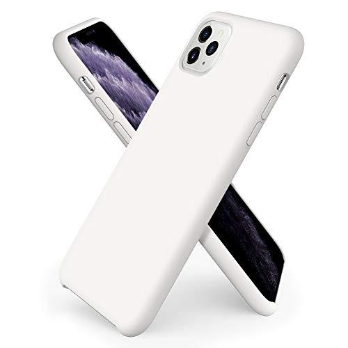 ORNARTO Custodia in Silicone Liquido per iPhone 11 PRO, Cover Sottile in Silicone Liquido in Gomma Gel Morbida per iPhone 11 PRO (2019) 5,8 Pollici-Bianca