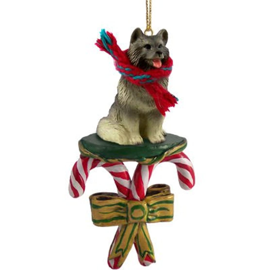 KEESHOND Dog CANDY CANE Resin Figurine New Christmas Ornament DCC32