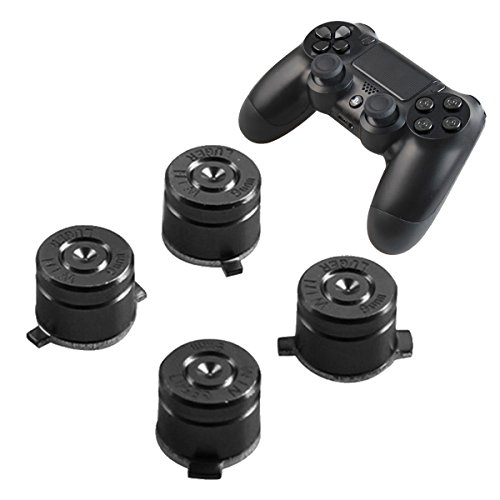 PS4 Bullet Buttons Aluminum Custom Metal Playstation 4 Slim DualShock 4 Replacement Standard Buttons Spare Parts Accessories for Modded PS4 Pro Controllers Bullet Silver